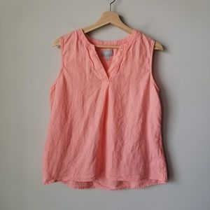 Pure Collection Pink Linen Sleeveless Tank Blouse